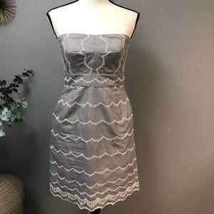 J Crew gray and white strapless dress